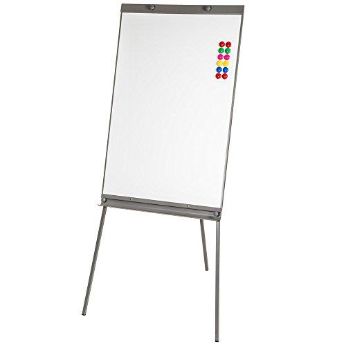 TecTake Lavagna flipchart a ufficio whiteboard magnetico bianca regolabile in altezza 65x95 cm + 12...