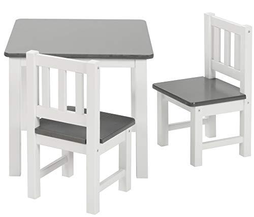 ♥ BOMI Holzsitzgruppe für Kinder Amy aus Kiefer Massiv Holz   bis 180 KG belastbar   für Kleinkinder, Mädchen und Jungen Grau Weiß