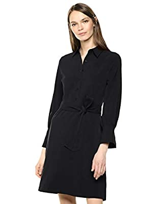 "This stretch woven shirt dress features a self fabric tie, long sleeves, and an elegant single button cuff detail Our designers crafted this stretch woven fabric to drape perfectly, and be comfortable all day Model is 5'11"" and wearing a size 2 Bring..."