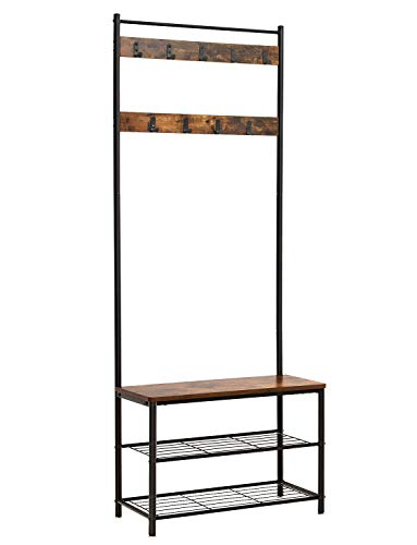 VASAGLE Industrial Coat Rack, Hall Tree Entryway Shoe Bench, Storage Shelf Organizer, Accent Furniture with Metal Frame