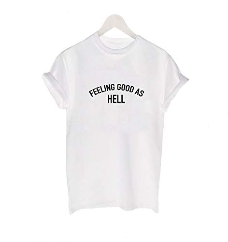 Feeling Good AS Hell T-shirt LIZZO TEE Confident Fan Regalo Donna Top bianco 16-18