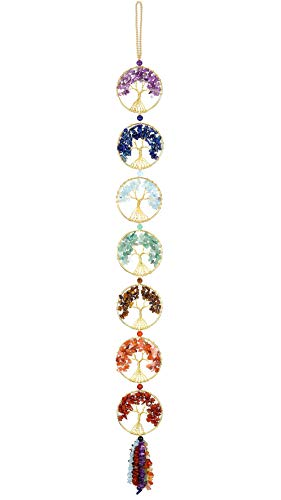 Top Plaza 7 Chakra Stones Healing Crystals Tree of Life Wall...