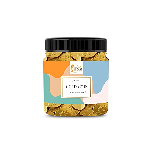 Organic Nature Gold Coin Milk Chocolates / Chocolate Coins Gift Pack 100 Pieces (Jar Pack)