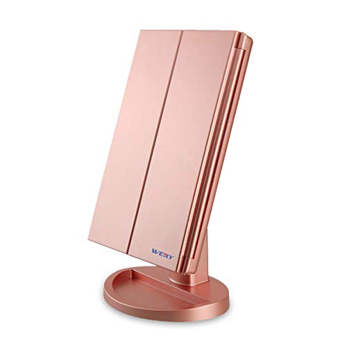 CZW Trifold Makeup Vanity Mirror with 36 Dimmable Lights, Dual Power LED Lighted Portable Cosmetic 2X/3X...