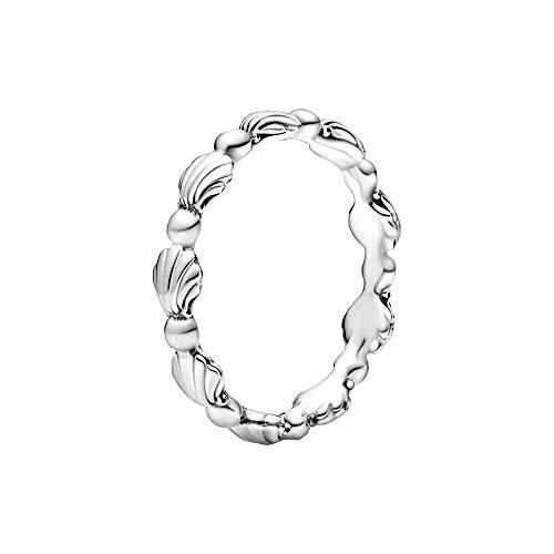 Pandora Anillo de plata con concha de perla, tamaño 52, 198