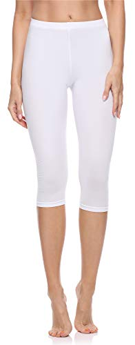 Merry Style Leggings 3/4 Pantaloni Capri Donna MS10-199 (Bianco, 4XL)