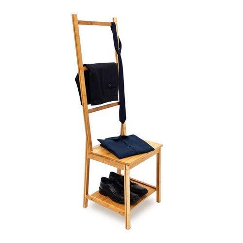 Relaxdays 10019172  Kleiderstuhl aus Bambus als Herrendiener mit 2 Ablagen HBT 133 x 40 x 42 cm Stummer Diener aus Holz mit 3 Streben als Handtuchstangen Badstuhl mit Handtuchhalter oder Kleiderbutler, natur