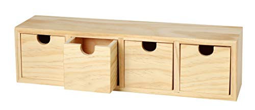 VBS Schubladenbox mit 4 Schüben, Kiefernholz, ca. 31x8x8cm
