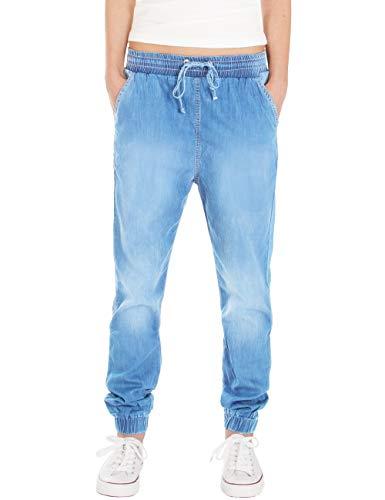 Fraternel Damen Stoffhose Jogg Jeans Pluderhose Hellblau XXL