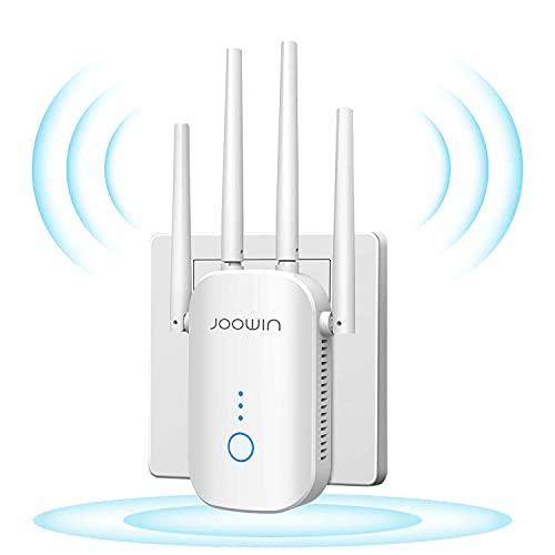 JOOWIN Répéteur WiFi 1200Mbps Amplificateur WiFi Double Bande, pour répéteur de Signal sans Fil/Point d'accès/routeur avec Port Ethernet et 4 antennes externes, À Travers Le Mur amplificateur WiFi