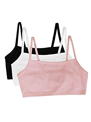 Three pack of solid full-coverage sport bras featuring spaghetti straps and tag-free labels One set of pads included 2-ply stretch construction 95% cotton, 5% spandex Spaghetti straps Full coverage Racerback Sports Bras available in colors: Skinny St...