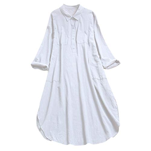 OHQ Sommerkleid Damen Tshirt Kleid Rundhals Kurzarm Kleider Shirt Tunika Abendkleid Cocktailkleid Festliches Kleid Knielang Freizeitkleid Shirtkleid Bluse Tunika Langes Locker Kleider