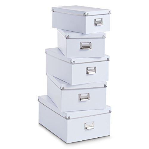 Zeller 17951 - Juego de cajas de cartón para almacenaje (5 unidades; 40 x 29 x 17 cm; 38 x 27,3 x 15,5 cm; 35,5 x 24,5 x 14,5 cm; 33,5 x 22,5 x 13,5 cm; 30,5 x 19,7 x 12,5 cm), color blanco