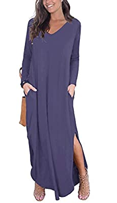 Material: 95% Rayon , 5% Spandex.Stretchy,soft and comfy. Long Sleeve, V neck and Backless, Long dress,Pocket,Maxi dress, loose fit. Simple casual style, fit for everyday dressing, wear at home, travel, you can match with your pumps, heels, boot Plea...