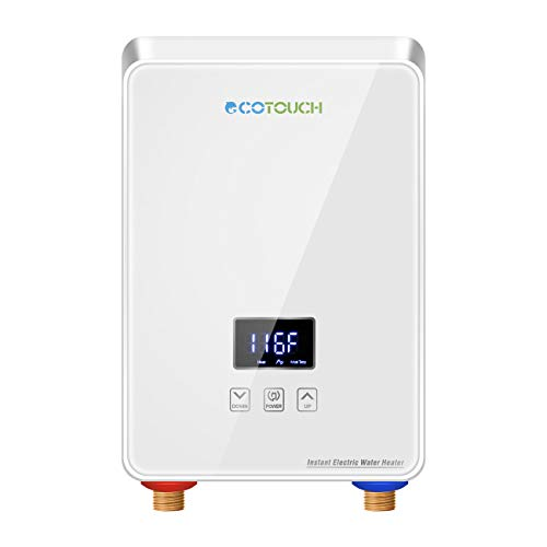 Tankless Water Heater Electric 5.5kw 240V, ECOTOUCH Point-of-Use Hot Water Heater Digital Display,Electric Instant Hot Water Heater with Self-modulating,Overheating Protection,White