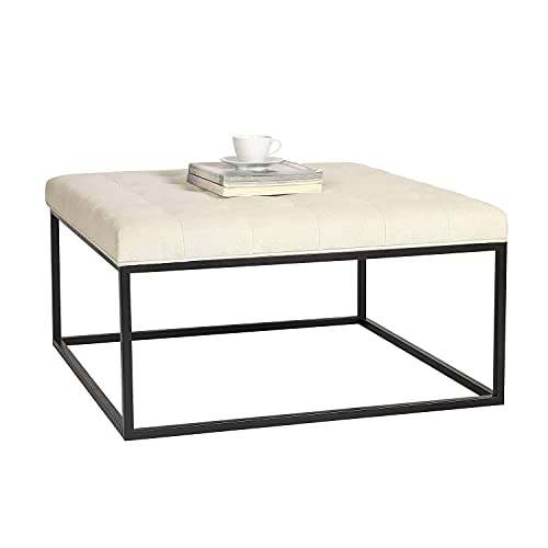 Adeco 34 inch Square Ottoman Bench, Ottoman Coffee Table, Button Tufted Upholstered Linen Fabric Footrest Stool Ottoman, Bottom Storage Space, Beige