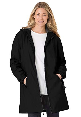 Woman Within Women's Plus Size Hooded Slicker Raincoat - 1X, Black