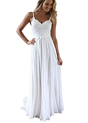 ❥Feature: This beach weddding dress features spaghetti straps, lace bodice, flowy chiffon skirt and backless design also make the bride to be charming. For more styles, please click 'Brand: WaterDress' above title. ❥Delivery Time: The order processin...