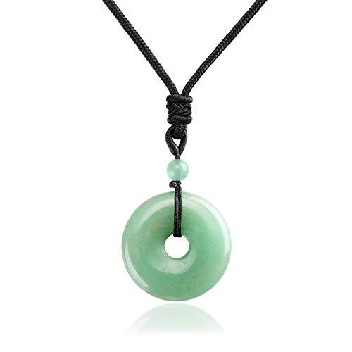 Jovivi 30mm Circle Donut Healing Crystals Necklace Natural...