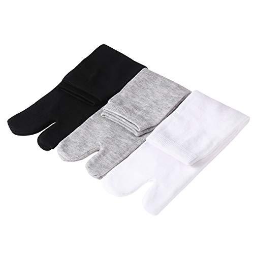 SUPVOX 3 paia di calzini giapponesi in cotone per uomini e donne (bianco, grigio e nero)