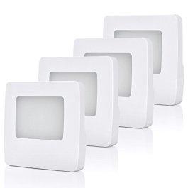DEWENWILS Plug in LED Night Light with Light Sensor, Warm White, Dusk to Dawn Sensor, Flat Nightlights for Kids, Adults, Hallway, Bathroom, Bedroom, UL Listed, 4 Pack