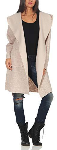 Malito Donna Cappotto Giacca Lana Cintura Trench Vello Cappa 9320 (Beige, indossabile per Taglie...