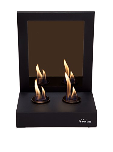 PURLINE MIMIC Bio-ethanol fireplace with a mirror