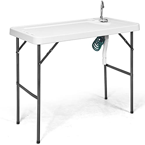 PETSITE Portable Folding Fish Hunting Cleaning Table with Spray Gun Faucet Sink, Outdoor Camping Picnic Foldable Washing Table, White