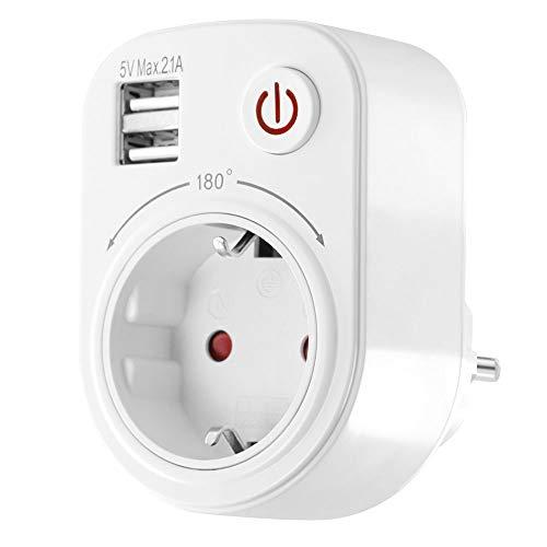 USB Ladegerät Steckdosenadapter 2100mA drehbar schwenkbar Kinderschutz Schalter Reiseadapter weiß