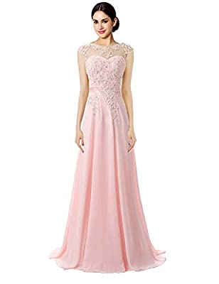 Size :Please be sure to definitely measure yourself according to product descriptions or to Size Chart on the picture column. Not Size Info Link. It is US Size when you place order. Fabric is Chiffon, and Back is Bandage Sheer Neck Beaded Floor Lengt...