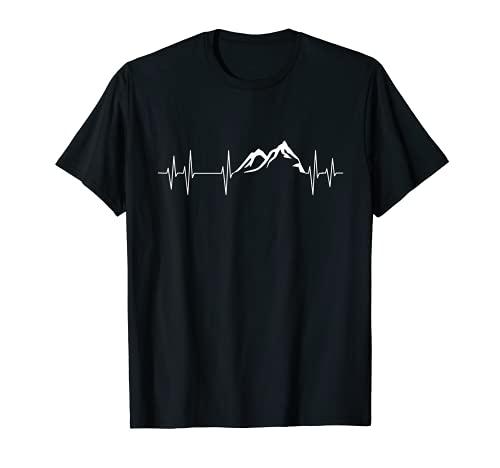 Herzschlag Berge Wandern Puls Ekg Bergsteiger T-Shirt