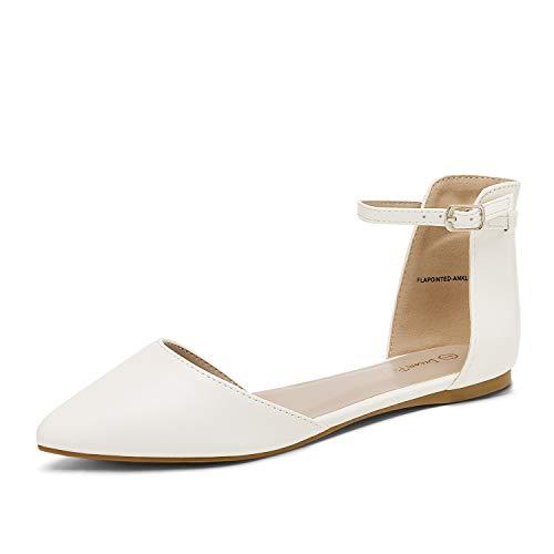 Dream Pairs Flapointed-Ankle Zapatos Planos con Punta Cerrada para Mujer Blanco PU 37 EU/6 US