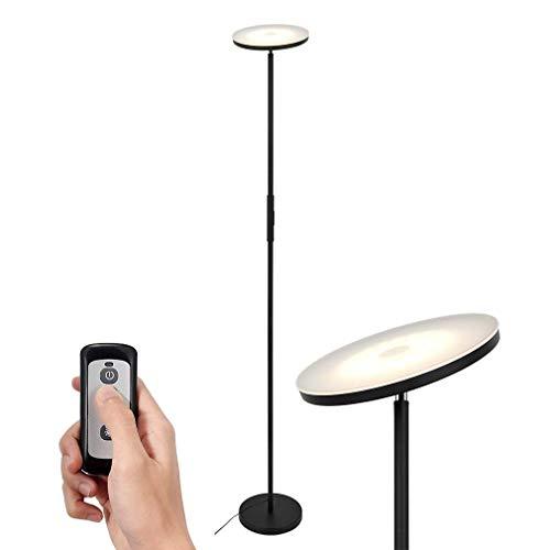 SIMPLEHOME Schwarzer LED Deckenfluter 20W mit Fernbedienung, moderne LED Stehlampe stufenlos dimmbar mit 3 Lichtfarben(warmweiß, kaltweiß, neutralweiß), perfekte Ambientbeleuchtung.