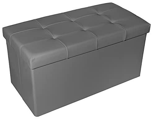 Theo&Cleo Leder Sitzhocker mit Stauraum 76 x 38 x 38 cm Faltbar Fußbank Truhen Aufbewahrungsbox(Dunkelgrau)