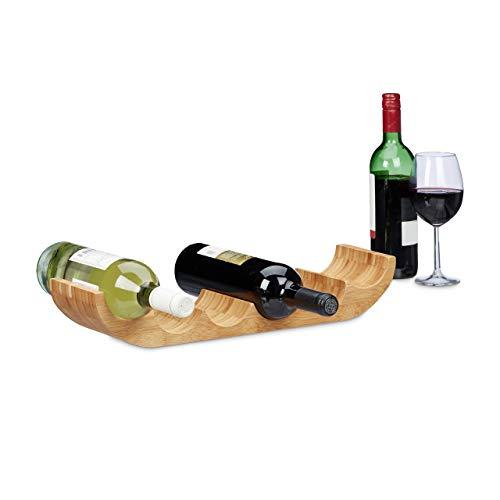 Relaxdays Portabottiglie da Appoggio per 6 Bottiglie, Cantina in bamb HLP 8x47,5x11,5 cm, Design Originale, Naturale, Legno, Marrone, 11.5x47.5x8 cm