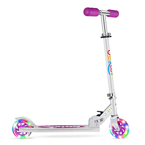 BELEEV V1 Folding Kick Scooter for Kids 2 Wheel Scooter for Girls Boys, CSPC&ASTM Safety Certified, 3 Adjustable Height, PU LED Light Up Wheels for Children 4 Years and up (Purple)