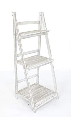 DARO DEKO Holz Blumen-Treppe Kalk-weiß 3-stufig - 106cm