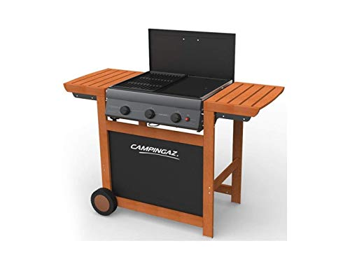 Barbecue A Gas Adelaide Woody 3 CAMPINGAZ Dual Gas (GPL Oppure METANO) con OMOLOGAZIONE A Norma di Legge + Telo Copertura Originale
