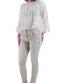 Lexxury Damen Stretch Baggy Jeans seitliche Streifen