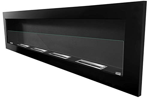 Bio Ethanol Fire BioFire Fireplace Modern 1600 x 400 High Gloss Black with glass panel 2XXL