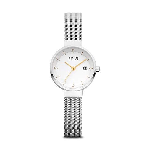 Bering Damen Analog Solar Uhr mit Edelstahl Armband 14426-001