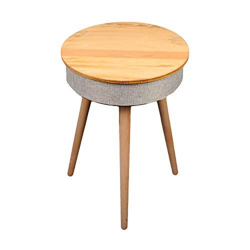 Tavolo altoparlante Bluetooth con ricarica wireless, tavolino ausiliario in legno portatile e intelligente, base di ricarica, porta USB e scheda TF