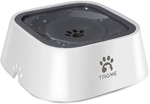 TagME Dog Dripless Water Bowl, Anti-Splash Pet Bowls, Eco-Friendly Material, Vehicle Carried Travel Water Bowls, Healthy & Dishwasher Safe,35 OZ Grey
