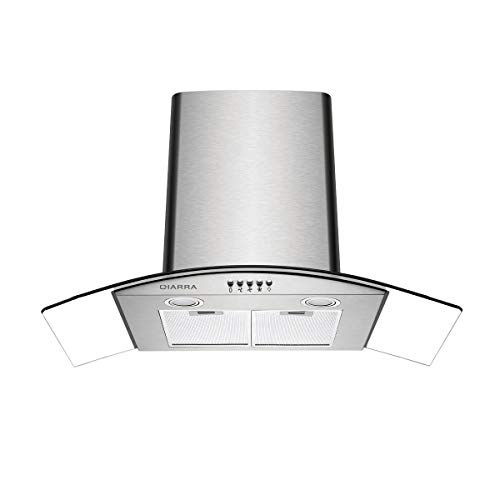 CIARRA CBCS9506B Cappa Aspirante con Rivestimento in Vetro e Acciaio Inox (90 cm, Potenza di Aspirazione pari a 550 m/h, Design Accattivante) - Argento