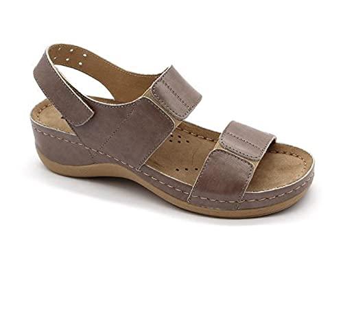 LEON 945 Sandalias Zuecos Mules Zapatillas Zapatos de Cuero, Mujer, Gris, EU 37