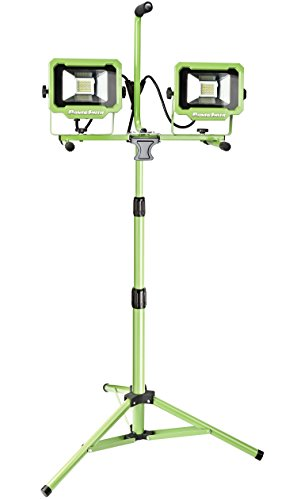 PowerSmith PWL2140TS Dual-Head 40W 4000 Lumen LED Work Light with Metal Lamp Housing and Telescoping Tripod(9 Ft Power Cord)