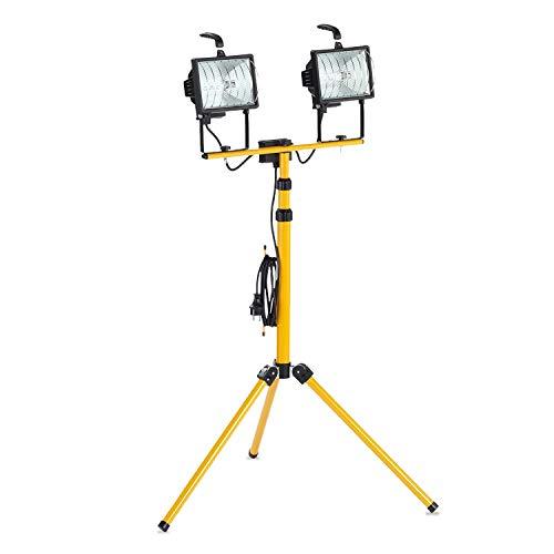 as - Schwabe Halogenstrahler - Doppelte Halogenlampe mit Stativ - 2 x 400 W – Halogen-Fluter geeignet als Baustrahler / Arbeitsleuchte – Energieklasse C - Stehlampe Inklusive Leuchtmittel I 46795