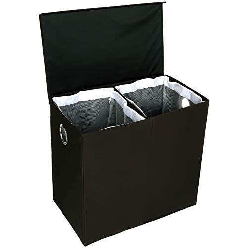 AmazonBasics - Wäsche-Sammler mit magnetischem Deckel, zusammenklappbar - Schwarz