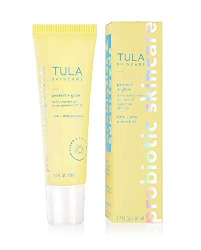 TULA Probiotic Skin Care Protect + Glow Daily Sunscreen Gel Broad Spectrum SPF 30   Skincare-First, Non-Greasy, Non-Comedogenic & Reef-Safe with Pollution & Blue Light Protection   1.7 fl. oz. 3