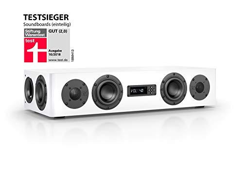 Nubert nuPro AS-250 Soundbar Testsieger | TV-Lautsprecher für Musikgenuss | Soundbase für klare Stimmen | Stereoboard mit 2.5 Wege Technik | aktive Stereobase für Spitzenklang | Sounddeck Weiß